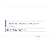 Themes The Rime of the Ancient Mariner (we are presenting this one)
