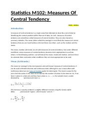 Statistics M102 Measures Of Central Tendency .docx