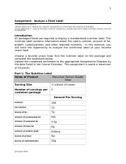 ASSIGNMENTAnalyzeFoodLabel-1.odt