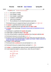 MATH 140 Spring 2014 Quiz 3 Solutions