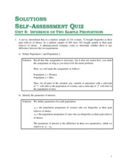Solutions for Unit 8 - Self Assessment Quiz