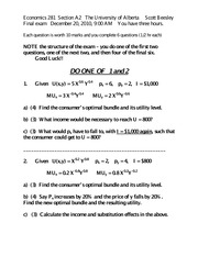 281 Fall 2010 Final Exam with Key (F13)