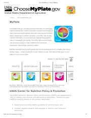 HMGT 2460 My Plate - Getting Started with MyPlate ChooseMyPlate gov