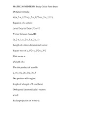 MATH 230 MIDTERM Study Guide Penn State