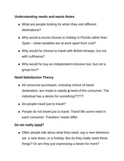 Understanding needs and wants Notes