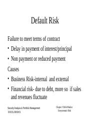Chapter 5 Debt - Unsystematic Risk