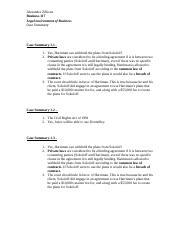 Business Law Case Summary Chap 1 and 3