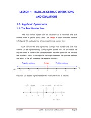 LESSON 1 - BASIC ALGEBRAIC OPERATIONS AND EQUATIONS