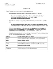 10-Leviticus 1-10 Worksheet Answers