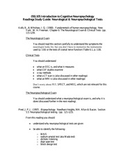 Study Guide 5 Neurological & Neuropsychological Testing