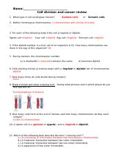 cell division and cancer review sheet Answers-2