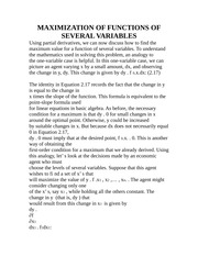 MAXIMIZATION OF FUNCTIONS OF SEVERAL VARIABLES