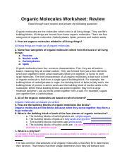 7th block Organic Molecules Worksheet Review   Organic ...