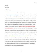 General Essay Topics In English  Pages Essay On Networkingdocx Research Paper Essays also Thesis Statement For Process Essay Computer N  West Georgia Technical College  Course Hero My First Day Of High School Essay