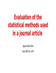 Evaluation of statistical methods