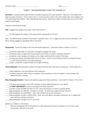 English 1 Fall 2012 Description Essay Peer Evaluation