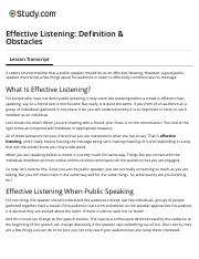 Effective Listening: Definition & Obstacles - Video & Lesson Transcript | Study.com.pdf