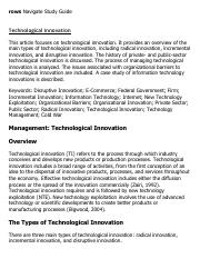 Technological Innovation Research Paper Starter - eNotes