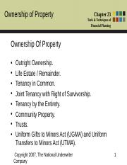 Chapter 23 - Ownership of Property