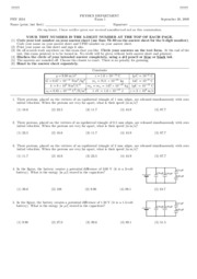 PHY2054 - Fall 2009 Exam 1