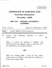 (www.entrance-exam.net)-IGNOU Certificate in Guidance-Guiding Children's Learning Sample Paper 4