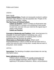 Politics and Culture Course Notes