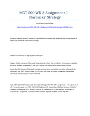 MGT 500 Week 3 Assignment 1 - Starbucks' Strategy - Strayer University NEW