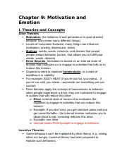 Chapter 9 Outline Psychology.docx