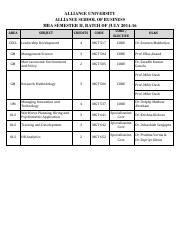 MBA July 2014-16 Batch, Semester II, OLS Schedule
