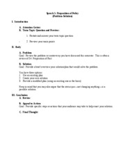 STRC 1111 Speech 5 Proposition of Policy (Problem-Solution) Outline Format