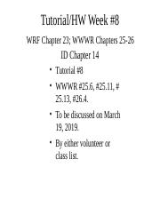 Week7 ppt - Tutorial/HW Week#7 WRF Chapters 22-23 WWWR Chapters 24