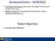 Lecture 10A - 4-24-2013 Steady State Diffusion