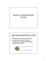 Sensors in Potential Divider Circuits