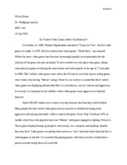 enc english i tallahassee community college page  6 pages violent video games essay