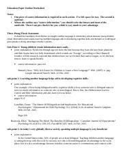 education research outline worksheet