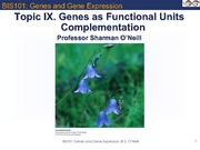 Topic IX Genes Functional Units _ Complementation