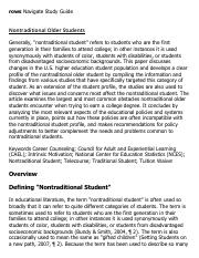 Nontraditional Older Students Research Paper Starter - eNotes