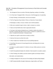 BAA 300 – Principles of Management Course Summary of Key Points and Concepts Spring