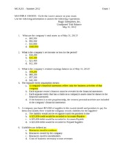 Practice Exam I Summer 2012 Solution