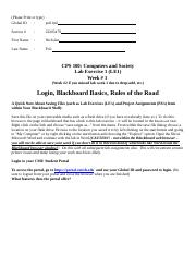CPS 100 LE1 - Fall 2012 - Login, Blackboard Basics, Rules of the Road
