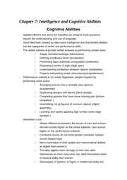 Chapter 7- Intelligence and Cognitive Abnormalites
