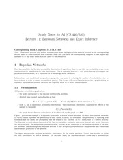 Bayesian Networks and Exact Inference Notes