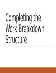 Completing the Work Breakdown Structure (1).pptx