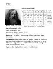 dmitri mendeleev contribution assignment