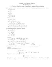 Math for Econ I- Practice Problems New York University 5. Product, Quotient, and Chain Rules; Implic