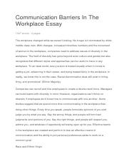 Communication Barriers In The Workplace Essay docx