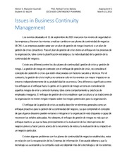 Issues in Business Continuity Management_Assigment_3