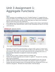 Unit 3 Assignment 1- Aggregate Functions
