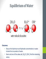 4.  Equilibrium of Water