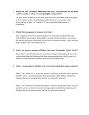 Answers to Article on The Classroom and Wider Culture